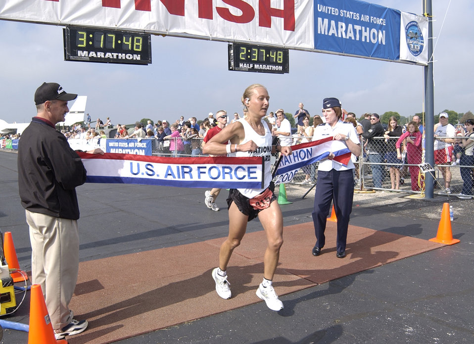 Airman, Soldier take top Air Force marathon races