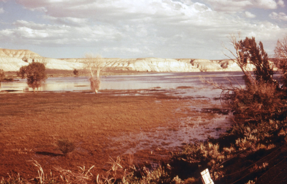 This 1976 photograph shows the shallow grassy edge of the Fontanelle Reservoir in Wyoming.