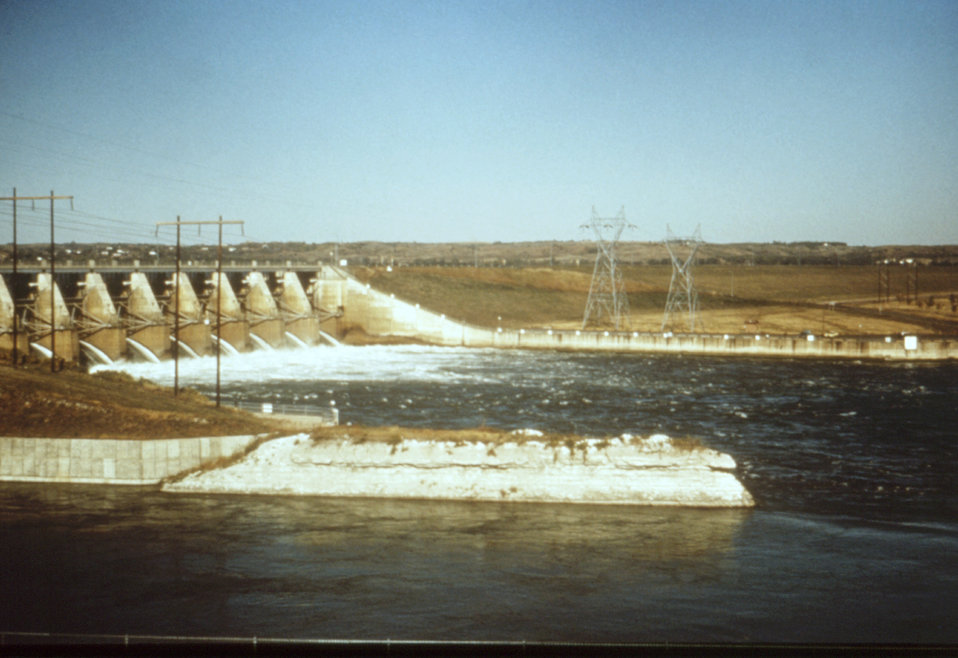 This 1976 photograph shows the Gavins Point Dam spillway at Lewis and Clark Lake in Nebraka.
