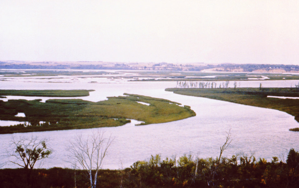 This 1976 photograph shows some of the island formations associated with Lewis and Clark Lake in Santee, Nebraska.