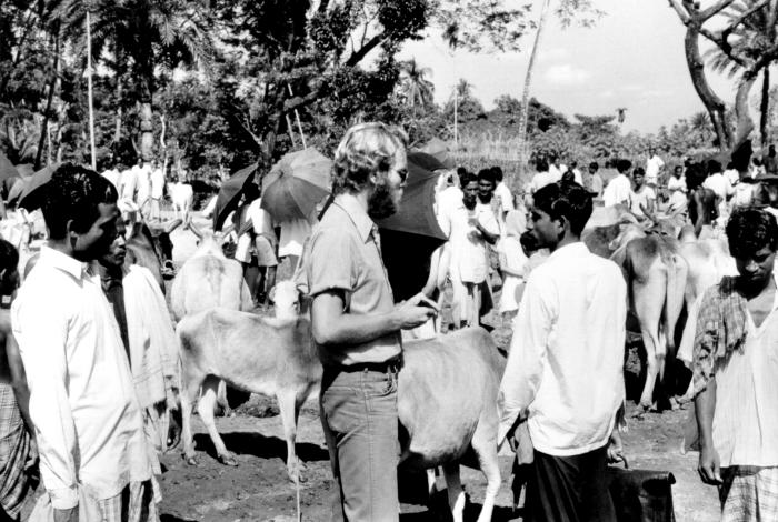 Here Jeff Koplan, M.D., M.P.H., is participating in smallpox-related field care in Bangladesh during the 1970's.