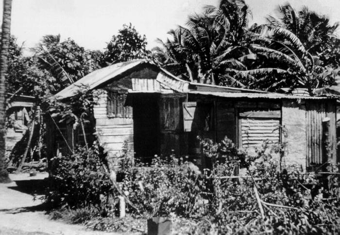 This photograph depicts a typical native hut in Puerto Rico, one of the most densely populated areas in the world.