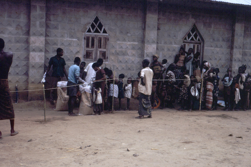 This 1968 photograph depicted a food distribution line for refugees of the Nigerian-Biafran civil war.