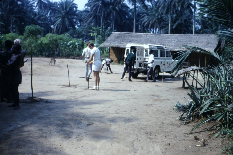 This 1968 photograph, which was taken during CDC's refugee relief effort at the time of the Nigerian-Biafran civil war, showed members of th