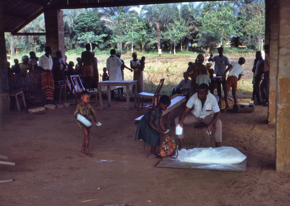 During the Nigerian-Biafran civil war, many Nigerian schools, like the one in this photograph, were used as clinics, or food distribution po