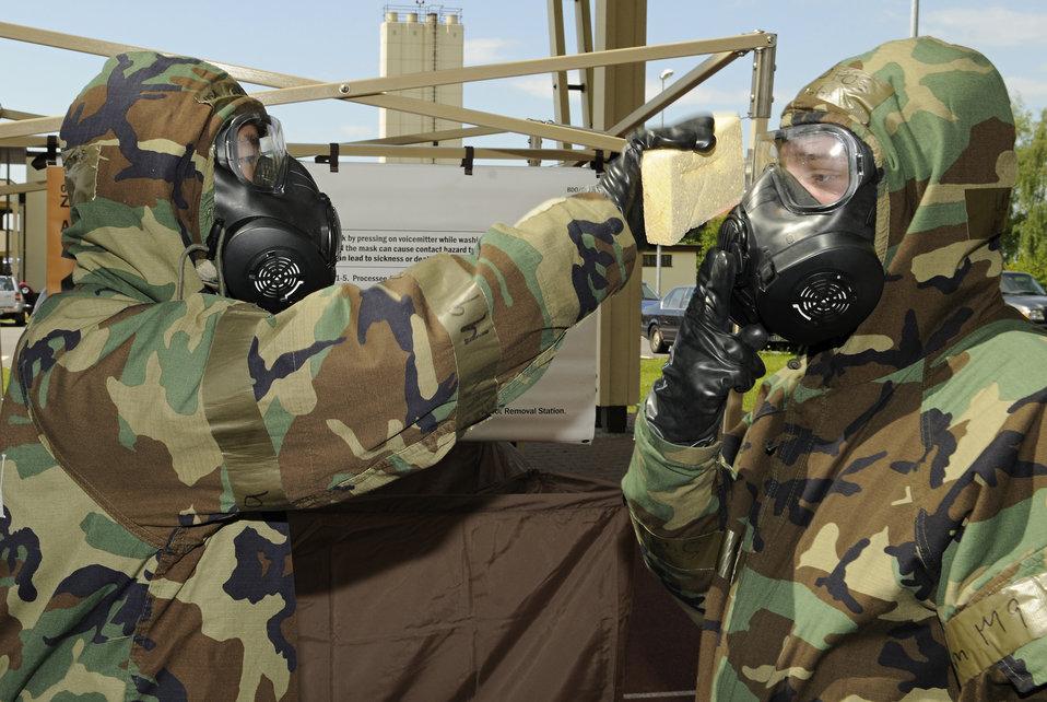 Airmen practice contamination control