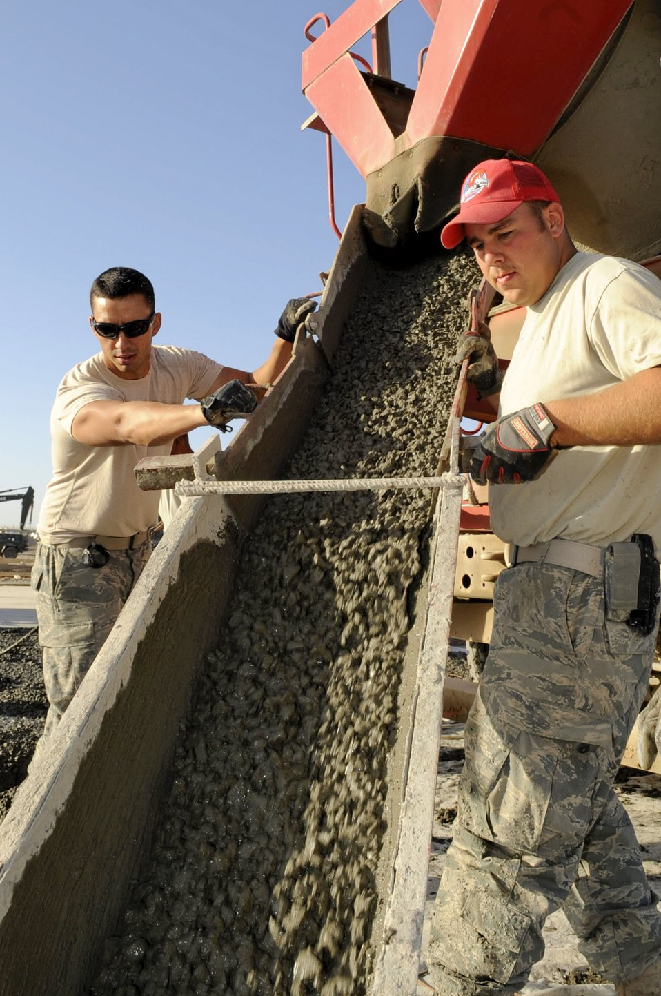 RED HORSE Airmen construct shelter pads