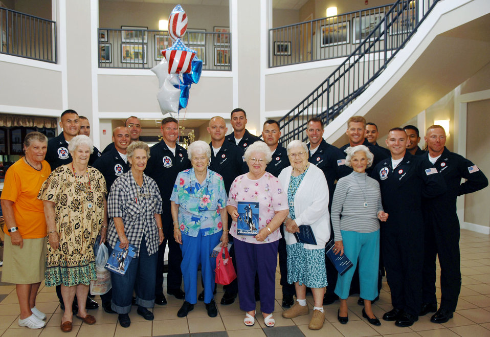 Thunderbirds' aircrew surprise widows at Enlisted Village