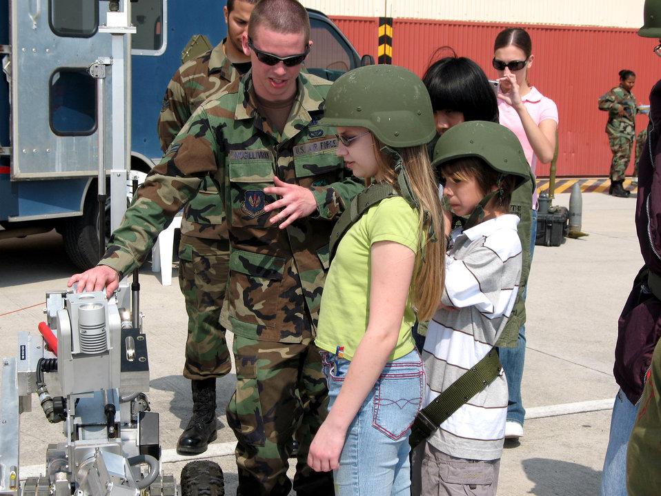 Aviano children go through mock deployment