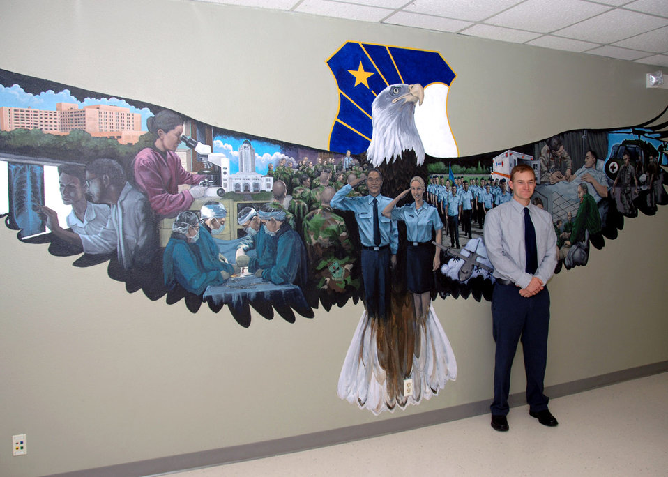 Artist honors Air Force medical field with 20-foot mural