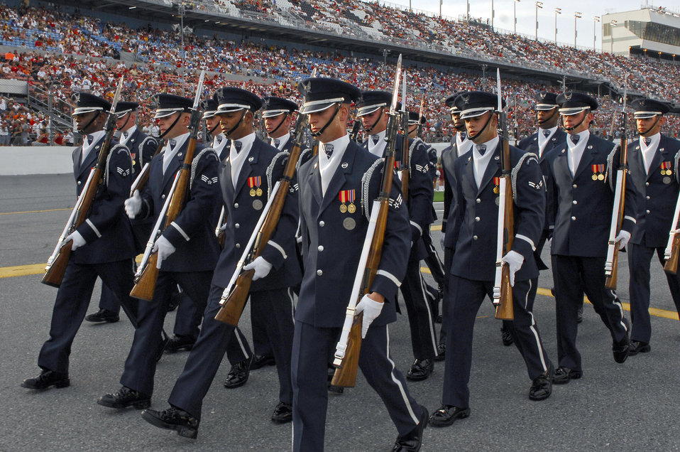 Drill team performs at NASCAR race