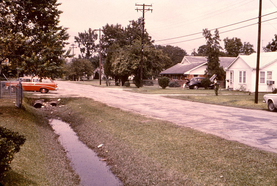 This 1974 photograph depicts a roadside drainage ditch, which was an ideal breeding ground for the Culex pipiens mosquito.