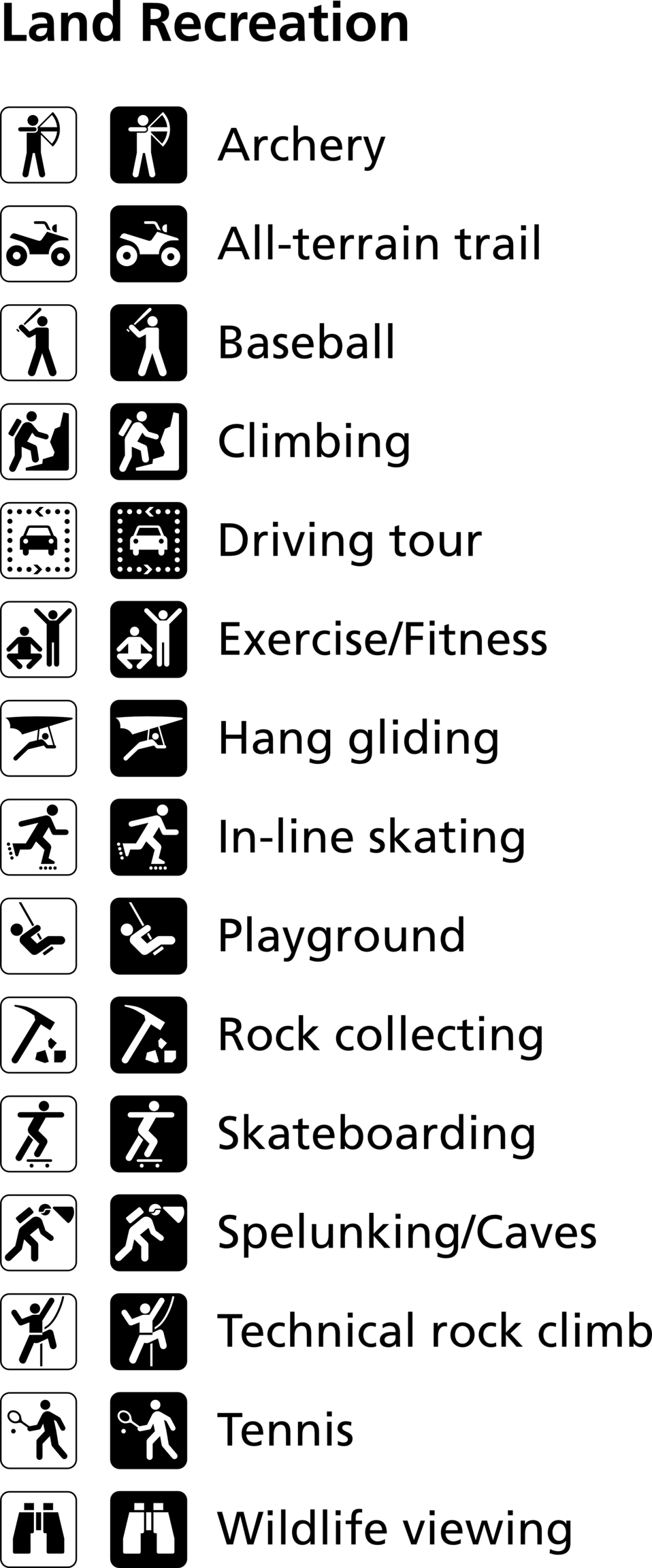 Land recreation symbols