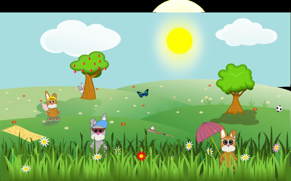 Illustrated cartoon summer landscape