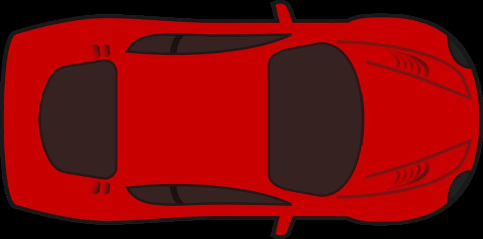 Red racing car top view