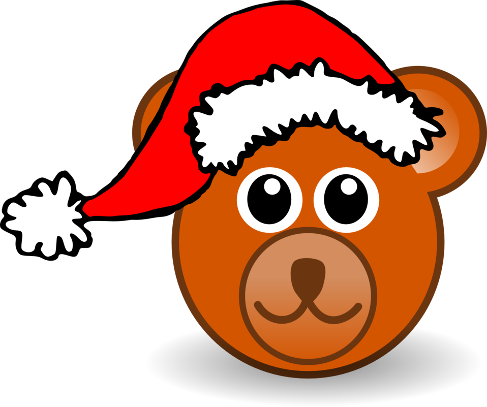 Funny teddy bear face brown with Santa Claus hat