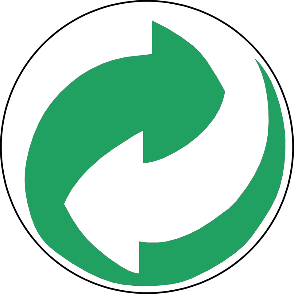 Recycling Symbol Green and White Arrows