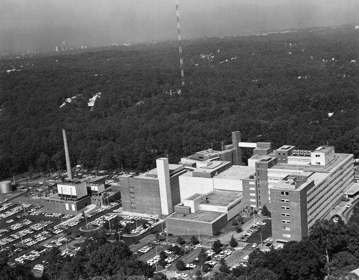 This historic aerial view, looking towards the west, depicts the appearance of the Centers for Disease Control and Prevention's (CDC) geogra