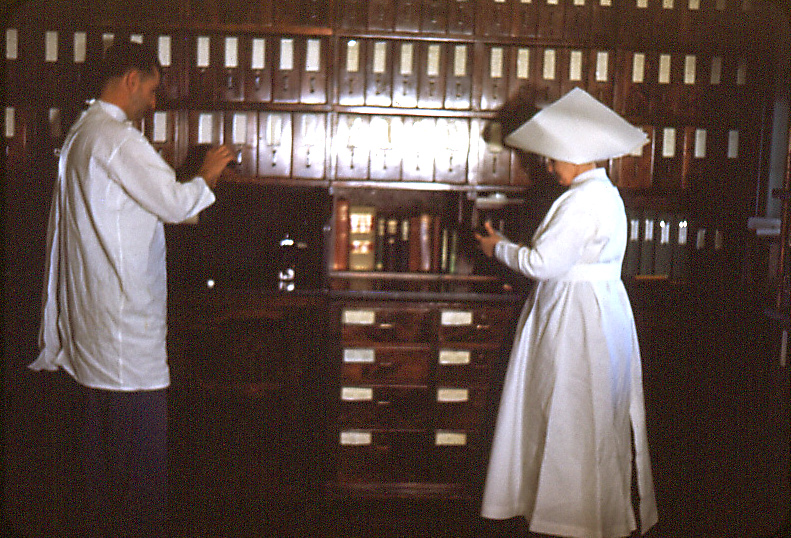 This image depicted the interior of the Carville, Louisiana Leprosarium's pharmacy, located inside the hospital's infirmary. Patients who'd