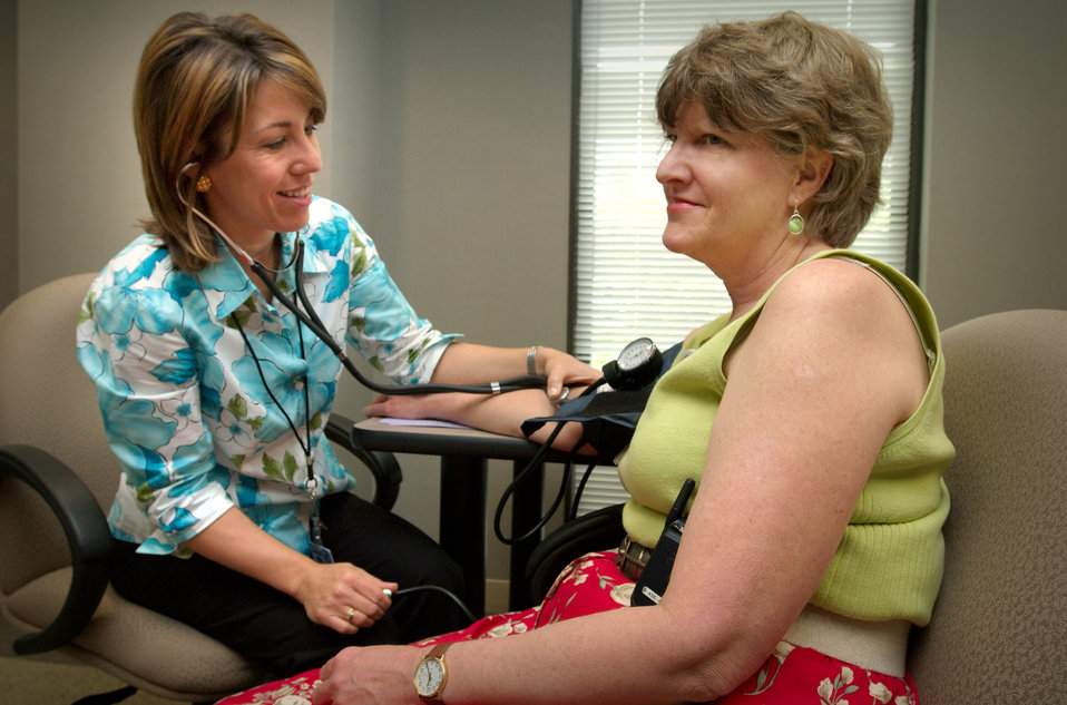 Here, CDC employee, Robyn Morgan (left), was shown having her blood pressure read by Robyn Morgan, of the National Center for Chronic Diseas