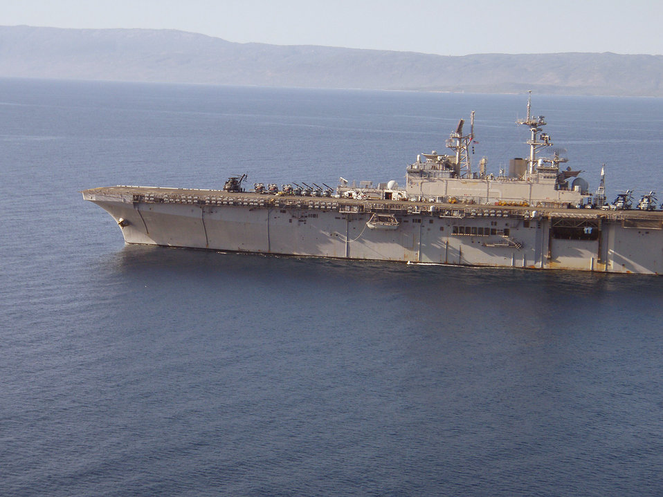 Photographed by U.S. Public Health Service (USPHS) Lt. Cmdr. Gary Brunette this image depicted an aerial view of the aircraft carrier, USS B