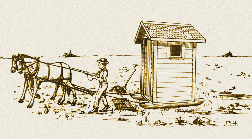This historic diagram, which had been digitally enhanced and colorized, depicted the correct method of moving a sanitary type of privy atop