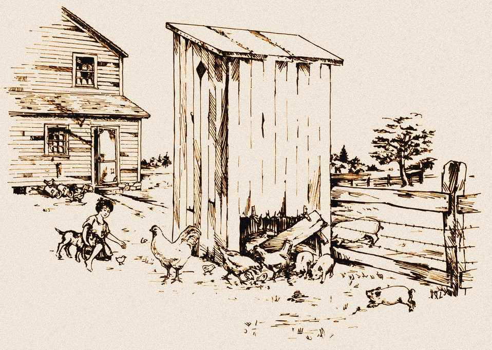 This historic diagram, which had been digitally enhanced and colorized, depicted an example of the unsanitary placement of a farm house priv