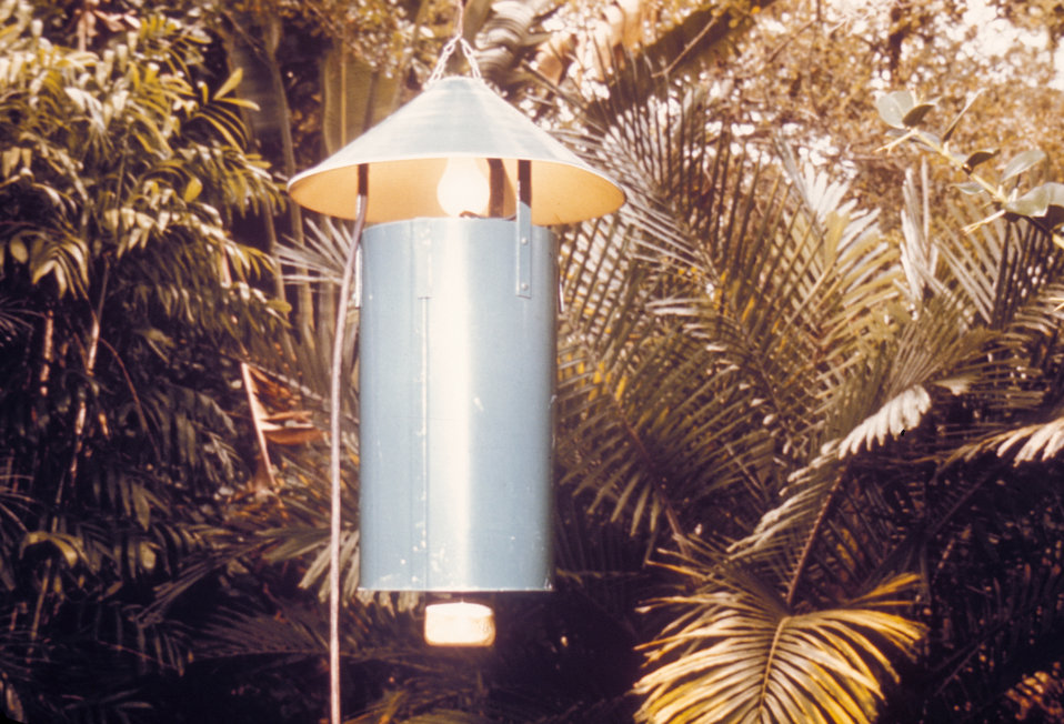 This is a New Jersey light trap used for trapping mosquitoes when conducting field studies.