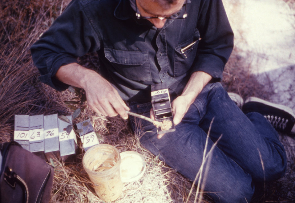 This individual was applying peanut butter to a Sherman Trap� to trap animals during a 1974 arbovirus study.