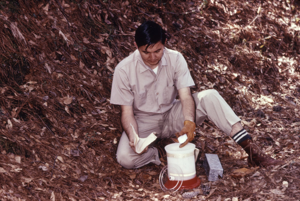 This dry ice set-up was used to anesthetize small mammals caught in the field during a 1974 arbovirus study.