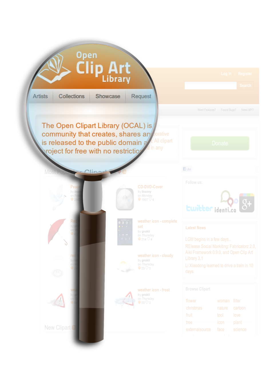 OpenClipArt on Magnifying Glass