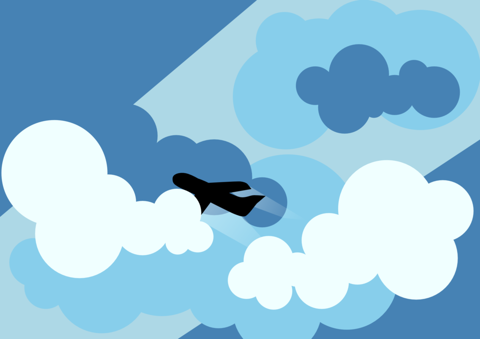 Plane silhouette flying through clouds
