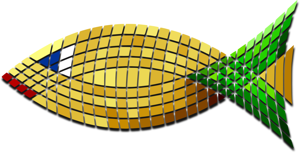 Tiled Gold Fish Green Tail