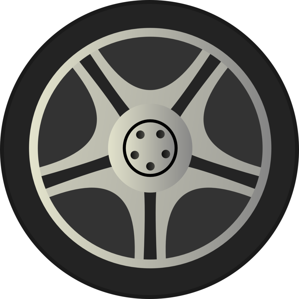 Car wheel side view