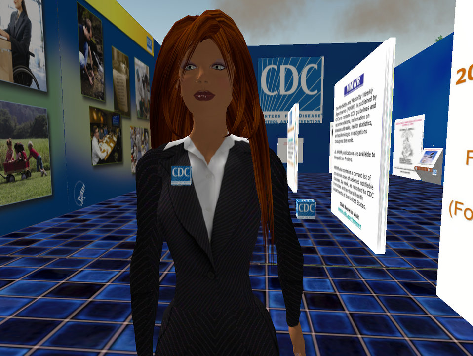 This computer-generated image depicts Hygeia Philo, the CDC's lead avatar in the virtual world of Second Life. This was the forth design sta