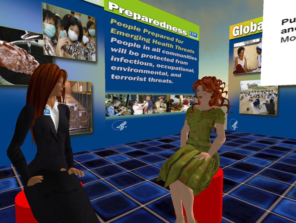 """As a result of the successful 2006 Fall Health Fair, Dr. John Anderton, """"through"""" CDC avatar Hygeia Philo, was interviewed by the"""