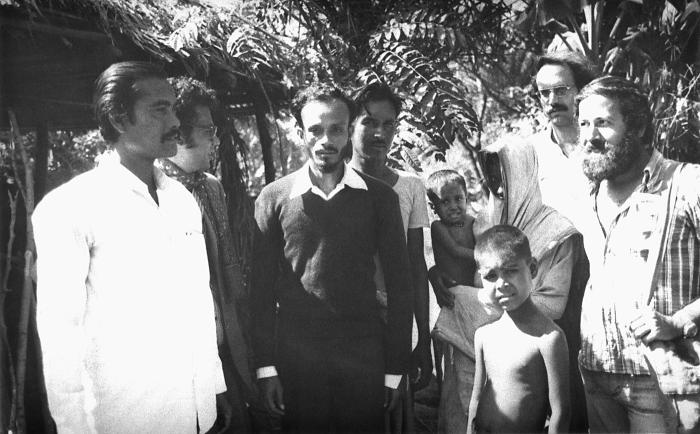 This 1975 photograph depicted a multinational group of smallpox eradication team members including local Bangladesh volunteers, one of whom,
