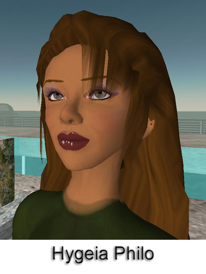 This computer-generated image depicts Hygeia Philo, the CDC's lead avatar in the virtual world of Second Life. This is the first design-stag