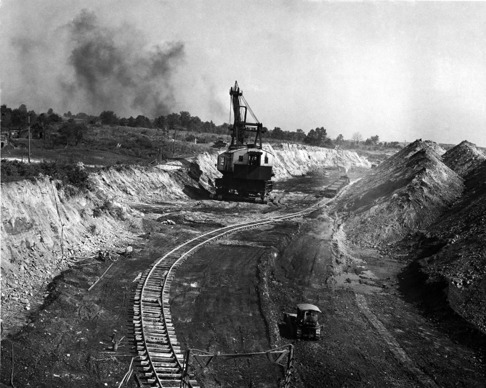 This was one of three images of a 1947, Indiana strip mining project underway, which depicted a bucket crane in the process of excavating an