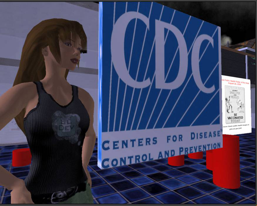 This computer-generated image depicts Hygeia Philo, the CDC's lead avatar in the virtual world of Second Life. This is the second design-sta