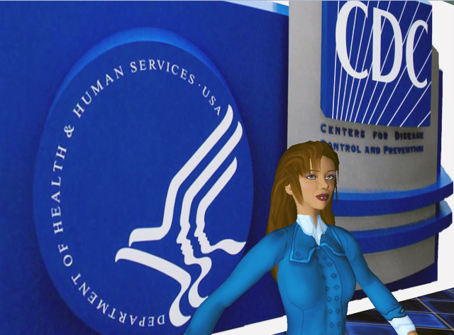 This computer-generated image depicts Hygeia Philo, the CDC's lead avatar in the virtual world of Second Life. This was the third design sta