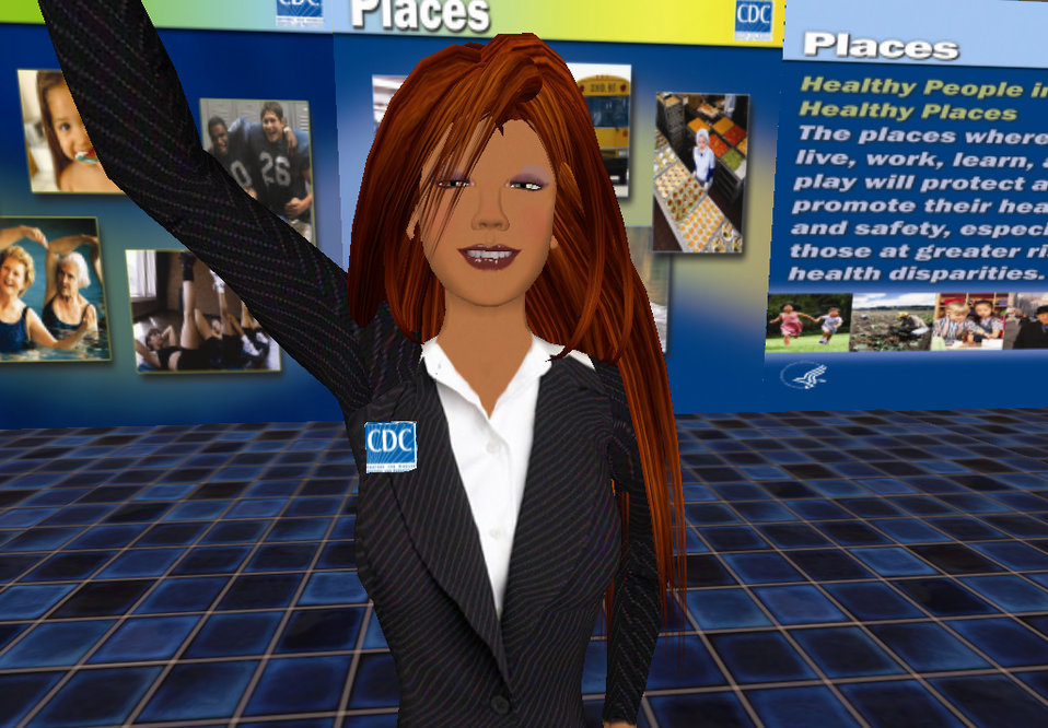 This computer-generated image depicts Hygeia Philo, the CDC's lead avatar in the virtual world of Second Life. This image was taken in prepa