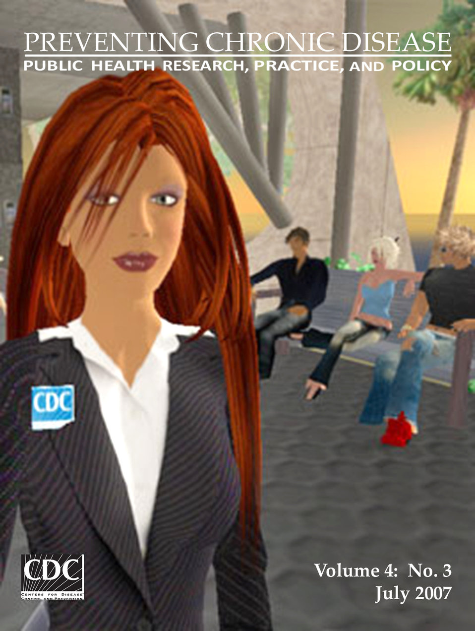 This computer-generated image depicts Hygeia Philo, the CDC's lead avatar in the virtual world of Second Life.  Dr. John Anderton designed H