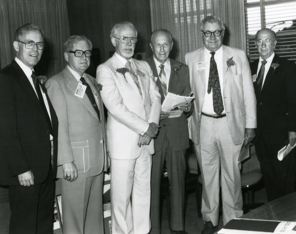 This 1986 photograph showed some of the former Centers for Disease Control Directors who'd come to the Roybal Campus in Atlanta, Georgia, in