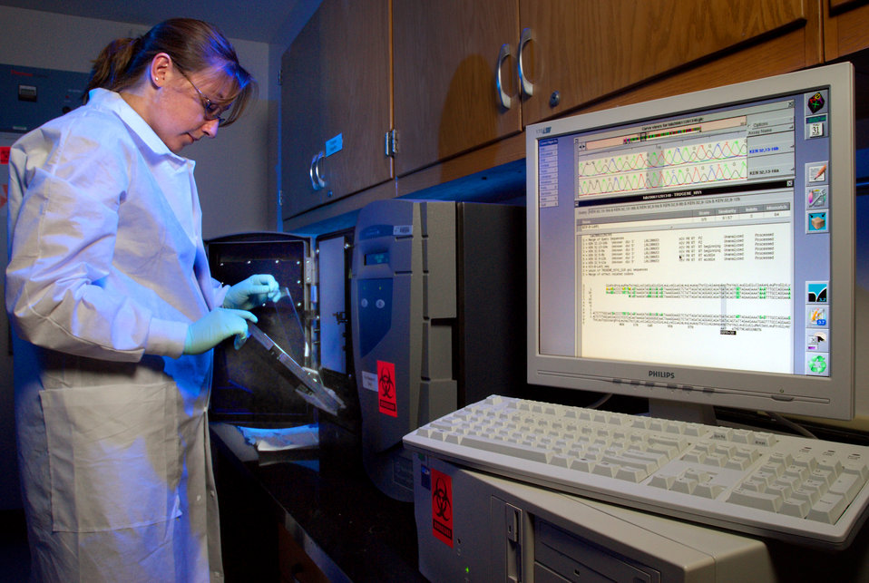 This 2007 photograph depicts CDC contractor Amanda McNulty, as she was performing antiretroviral drug resistance testing on patient specimen
