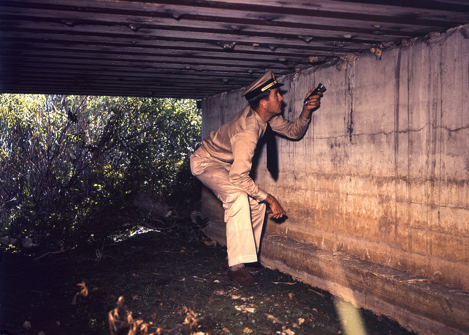 This 1960 photograph depicted a military investigator with a flashlight as he was carrying out an inspection beneath a bridge during a malar
