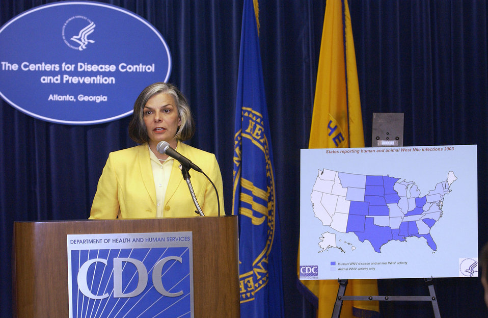 This was former CDC Director (2002 - 2008), Julie Louise Gerberding, MD, MPH, speaking at an August, 2003 West Nile Virus press briefing.