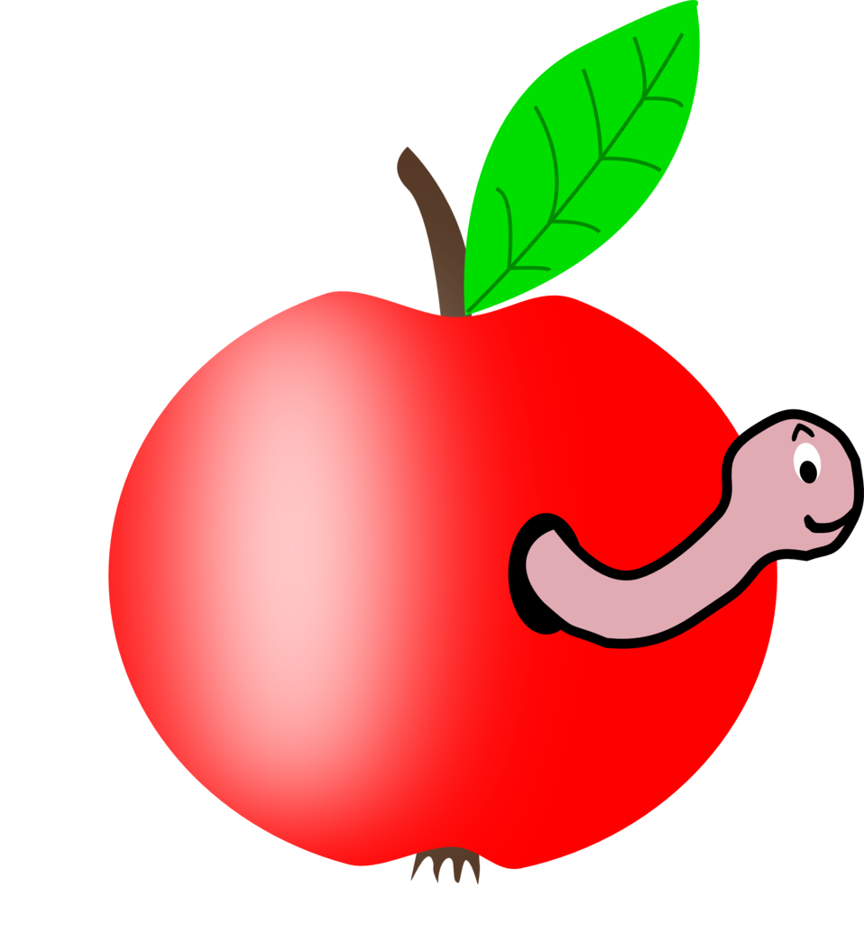 Apple Red with a Green Leaf with funny Worm
