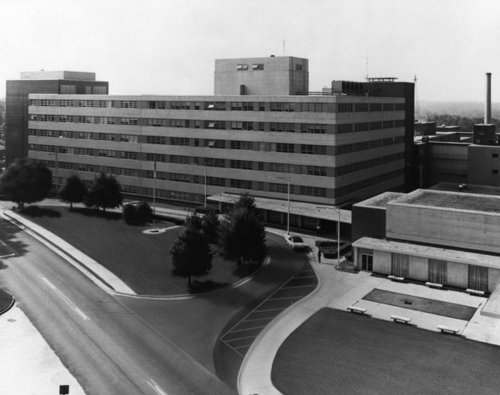 This aerial photograph taken during the 1980s, revealed the front entrance to Building 1 on the Centers for Disease Control's Roybal Campus,