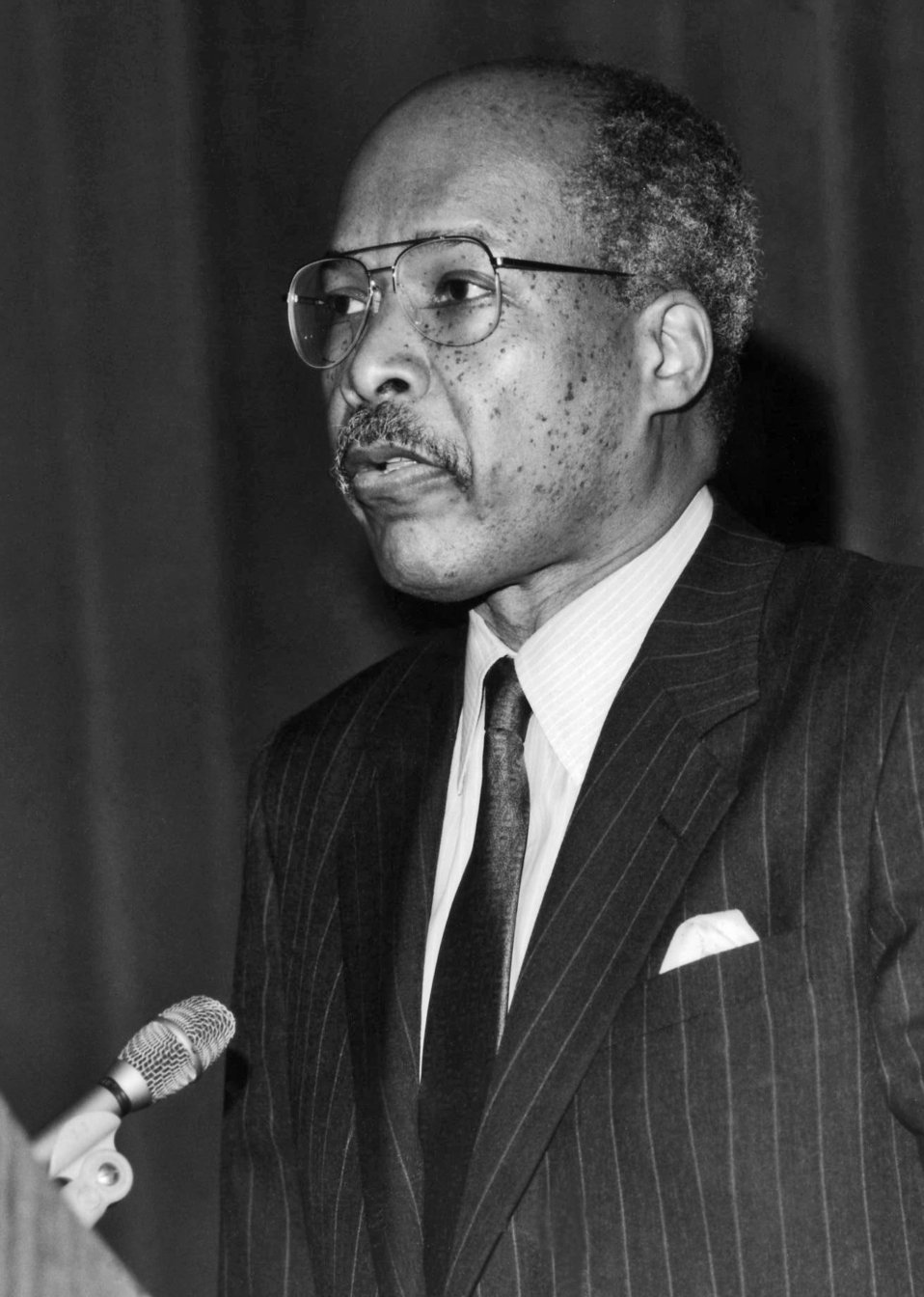This was Dr. Louis W. Sullivan, the newly appointed Health and Human Services Secretary (1989 - 1993), shown here as he was addressing perso